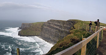 Cliffs of Moher - Wikipedia on rio de janeiro map, ring of kerry map, trinity college, dublin, skellig michael map, republic of ireland, ireland map, hill of tara map, dingle peninsula, blarney stone map, the burren map, aran islands, beara peninsula map, dublin castle, aillwee cave map, tirana map, mizen head map, ring of dingle map, galway map, cliffs of moor map, gdansk map, the burren, slieve league, aillwee cave, europe map, holy cross abbey, rock of cashel map, county kerry, kylemore abbey map,