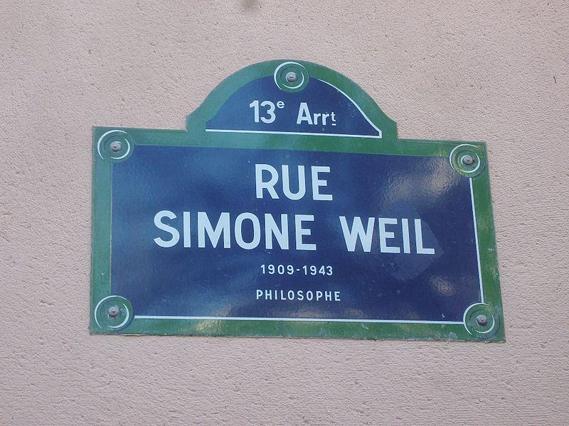 Fichier:Paris 13e - Rue Simone-Weil - plaque.jpg