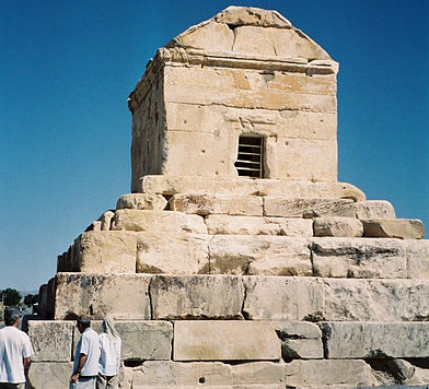 Cyrus' tomb lies in Pasargadae. Iran is home to 19 historic sites which have been inscribed on UNESCO World Heritage List. Pasargades cyrus cropped.jpg