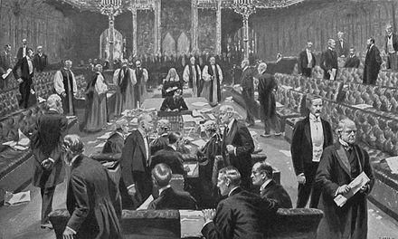 The House of Lords voting for the Parliament Act 1911 Passing of the Parliament Bill, 1911 - Project Gutenberg eText 19609.jpg