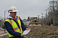 Paul Machajewski, Corps of Engineers, St. Paul District contractor lead for the Red River of the North flood fight, monitors a temporary emergency levee along 2nd Street in Fargo, N.D., April 29, 2013 130428-A-LI073-076.jpg