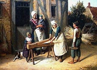 Paysans occupés à préparer le chanvre devant la porte d'une chaumière