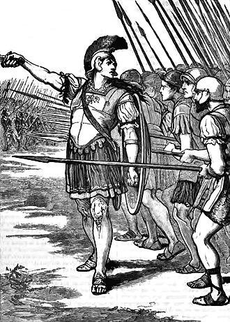 Pelopidas - Pelopidas leading the Thebans at the Battle of Leuctra.