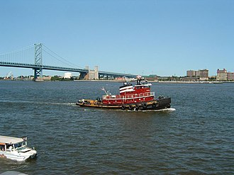 Penn's Landing - Tugboat off Penn's Landing, near the foot of the Benjamin Franklin Bridge.