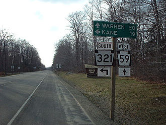Pennsylvania Route 321 - PA 321 southbound at split with PA 59