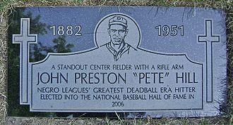 """Pete Hill - Grave marker for John Preston """"Pete"""" Hill"""