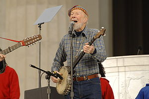 Lignum vitae - Pete Seeger with his extra-long, lignum vitae banjo neck