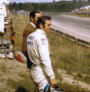 Peter Revson - Peter Revson, 1972 Canadian GP at Mosport Park, Sept 23,1972. Revson just minutes after setting Pole Position, and crashing on the next lap.
