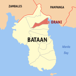 Map of Bataan with Orani highlighted