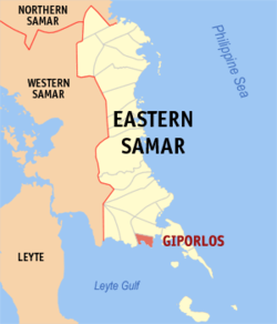 Map of Eastern Samar with Giporlos highlighted