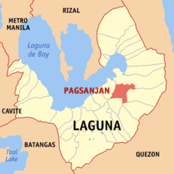 Map of Laguna showing the location of Pagsanjan.