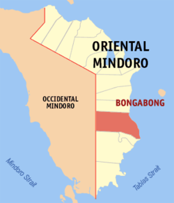 Map of Oriental Mindoro with Bongabong highlighted