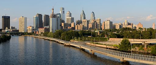 Philadelphia from South Street Bridge July 2016 panorama 1