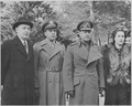 Photograph of British Field Marshal Harold Alexander and Mrs. Alexander, with two unidentified men, possibly at Mount... - NARA - 199510.tif