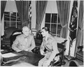 Photograph of President Truman and the Shah of Iran in the Oval Office. - NARA - 200149.tif