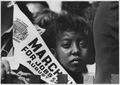 Photograph of a Young Woman at the Civil Rights March on Washington, D.C. with a Banner - NARA - 542030.tif