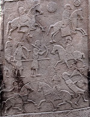 Coppergate Helmet - Northumbrian cavalry (right) wearing helmets similar to the Coppergate Helmet - Pictish memorial stone at Aberlemno