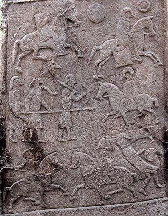 Bridei III - The battle scene from the Aberlemno Pictish stone, generally presumed to show the Battle of Dun Nechtain, Picts on the left, Northumbrians on the right, the mounted Pictish figure perhaps representing King Bridei