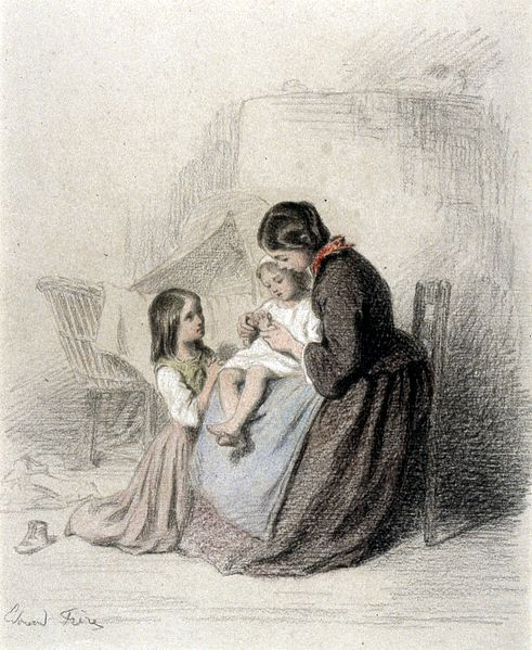 File:Pierre-Édouard Frère - Interior with Woman Teaching Child to Pray - Walters 371404.jpg
