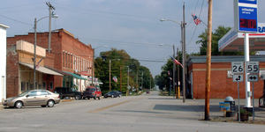 Pine Village, Indiana - Lafayette Street at the intersection of 26 and 55