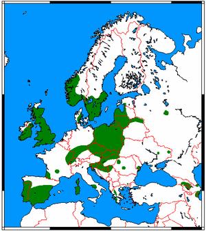 Soprano pipistrelle - Image: Pipistrellus pygmaeus range map