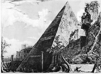 Giovanni Battista Piranesi - The Pyramid of Cestius, etching