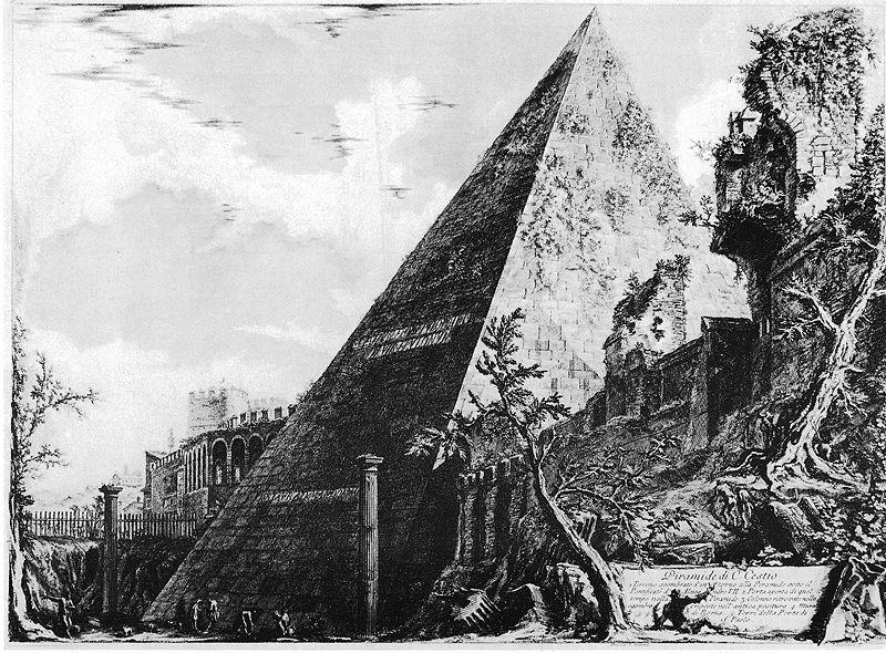 > Pyramide de Cestius dans le quartier de Rome. Illustration du 18e siècle de Piranesi.