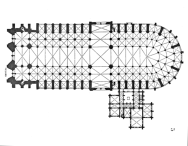 plan of the cathedral made by eugène viollet-le-duc in the 19th century   portals and nave to the left, a choir in the center, and apse and  ambulatory to the