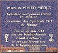 Plaque commemorating Marius Vivier-Merle (Gare Part-Dieu, Lyon).JPG