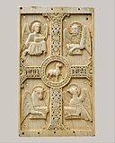 Plaque with Agnus Dei on a Cross between Emblems of the Four Evangelists MET DT142.jpg