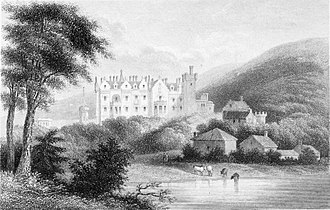 Eildon Hall (Scottish Borders) - Pastoral engraving of a castle at Abbotsford.