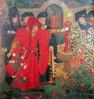Wars of the Roses - 1908 painting by Henry Payne of the scene in the Temple Garden from Shakespeare's play Henry VI, Part 1, where supporters of the rival factions pick either red or white roses