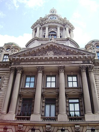 240 Centre Street - Image: Police Building dome pediment and columns