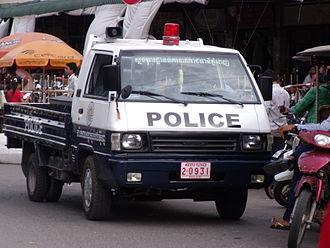 Crime in Cambodia - Cambodian police car in Phnom Penh