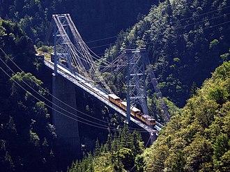 Ligne de Cerdagne - The unusual rail suspension bridge at Pont Gisclard between Sauto and Planès