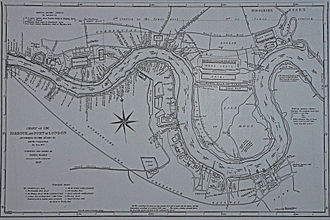 Port of London - James Elmes' chart of the port, 1837, showing the enclosed docks at the beginning of Queen Victoria's reign.