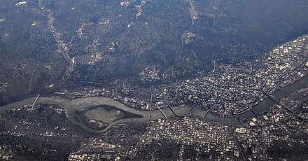 Aerial view of Portland and its bridges across the Willamette River Portland OR aerial.jpg