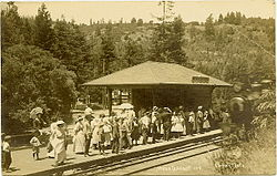 The historical Mesa Grande station on the Northwestern Pacific Railroad, ca. 1910