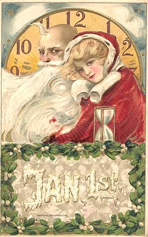 Postcard celebrating New Year's Day, mailed De...