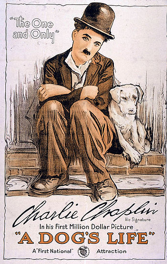 "A Dog's Life (1918). It was around this time that Chaplin began to conceive the Tramp as ""a sort of Pierrot"", or sad clown. Poster - A Dog's Life 01.jpg"
