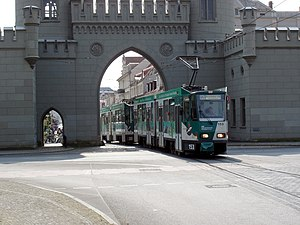 Trams in Potsdam - KT4Dm-cars 153/253 at Nauener Tor