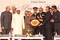Pranab Mukherjee being felicitated at the inauguration of the International Conference on the Future of Universities in India Comparative Perspectives on Higher Education Reforms for a Knowledge Society, at Sonepat.jpg