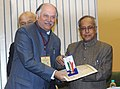 Pranab Mukherjee presenting the medal to the Member of Parliament, Shri Gurudas Kamat, at the Medal Ceremony organized by the Office of the Registrar General & Census Commissioner, India.jpg