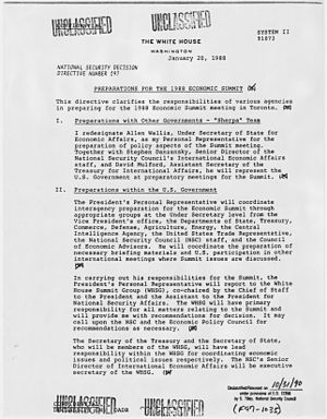 "W. Allen Wallis - January 1988 memo identifying Wallis as President Reagan's ""personal representative"" for policy matters during the administration's preparations for attending the 14th G7 summit in June."