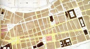 Place des Terreaux - Plan of expansion of the Presqu'île streets leading to the square (1853).