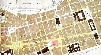 Place des Terreaux - Plan of expansion of the Presqu'île streets leading to the square (1853).