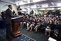 President Barack Obama delivers remarks to student reporters during College Reporter Day (26608406502).jpg
