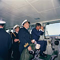 President Kennedy aboard USS Enterprise (CVN-65), watching maneuvers, April 1962.jpg