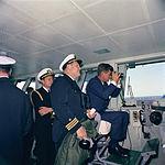 President Kennedy aboard USS Enterprise (CVN-65), watching maneuvers, April 1962.jpg