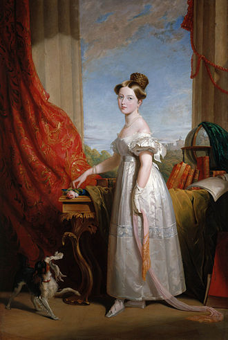 Portrait of Victoria with her spaniel Dash by George Hayter, 1833 Princess Victoria and Dash by George Hayter.jpg